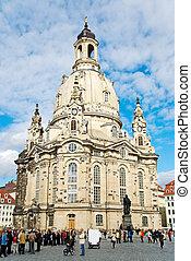 dresden, sachsen, deutschland, frauenkirche, neumarkt, sommer 2010