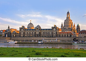 dresden frauenkirche - dresden skyline with river elbe and...
