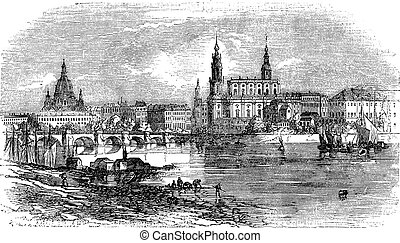 Dresden in Saxony, Germany, vintage engraving