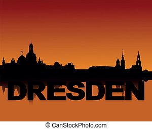 Dresden skyline at sunset