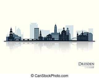 Dresden skyline silhouette with reflection.