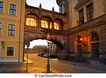 Dresden sunset arch at Taschenberg street Germany