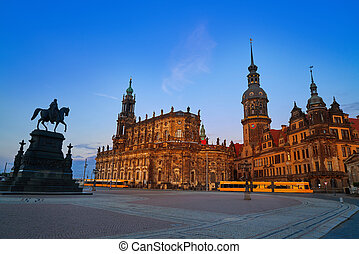 Dresden sunset at Theaterplatz in Saxony Germany