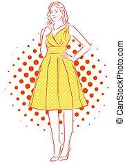 dress., 型, 黄色, artwork., 女の子の微笑, すてきである