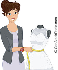 Dress Alteration Mannequin - Illustration of a Girl Taking...
