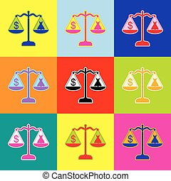 Dress and dollar symbol on scales. Vector. Pop-art style colorful icons set with 3 colors.