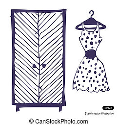 Dress and wardrobe - Dress and wardrobe. Hand drawn vector...