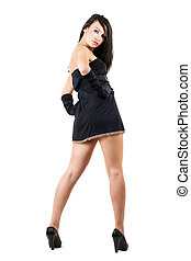 dress., belleza, joven, aislado, mujer, negro, blanco