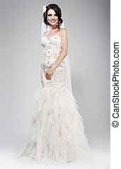 dress., biały, elegancja, wyszukany, ślub, wesele, style., newlywed