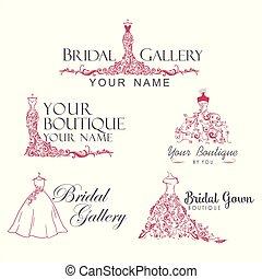 Dress Boutique Bridal Collection Logo Set, Icon, ...