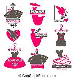 Dress boutique or fashion atelier salon vector icons set