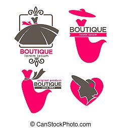 Dress boutique or fashion dress and hat atelier salon vector icons set