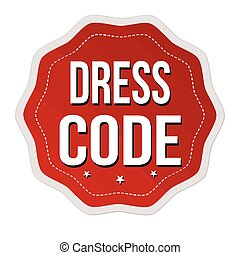 Dress code label or sticker on white background, vector...