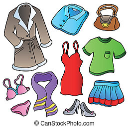 Dress collection 1 on white background - vector...
