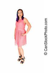 dress., cor-de-rosa, mulher