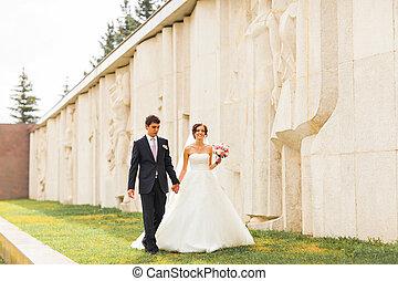 dress., csokor, lovász, menyasszony, park., esküvő, lakodalmi, menstruáció