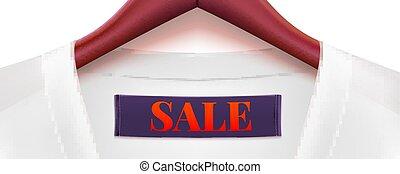 dress., disposition, annonce, hanger., collar., bois, grand, créatif, sales., escompte, vente, étiquette, publicité, gabarit, action, bannière, horizontal, marchés, magasins, vêtements