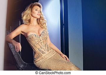 dress., elegant, blond, frau, sexy