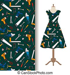 Dress fabric pattern with construction tools