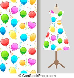 Dress fabric pattern with party baloons
