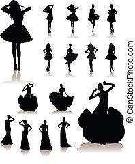 dress., filles, modèle, beau