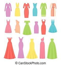 Dress for women. Vector illustration. Female textile, flat design.