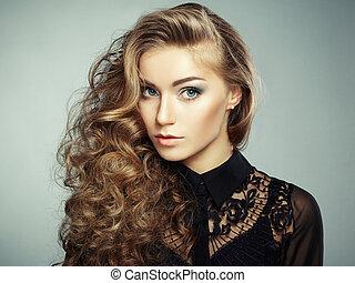 dress., girl, mode, noir, jeune, portrait, beau, blond