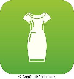 Dress icon green vector