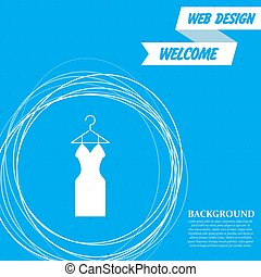 Dress Icon on a blue background with abstract circles around and place for your text. Vector