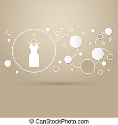 Dress Icon on a brown background with elegant style and modern design infographic.