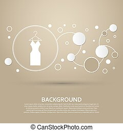 Dress Icon on a brown background with elegant style and modern design infographic. Vector