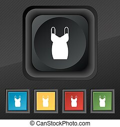 dress icon symbol. Set of five colorful, stylish buttons on black texture for your design. Vector