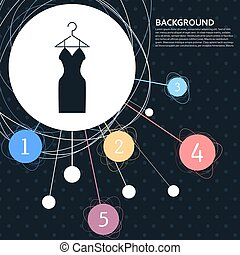 Dress Icon with the background to the point and with infographic style. Vector