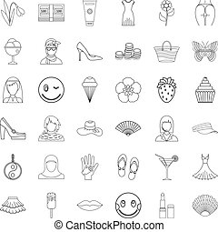 Dress icons set, outline style