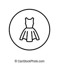 dress., illustration., editable, ライン。, ベクトル, 薄くなりなさい, icon.