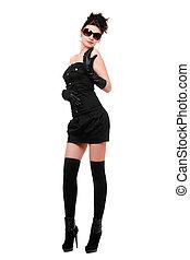 dress., joven, aislado, mujer, negro, sexy