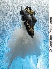 dress., leva, ouro, corset., feito à mão, metal, metais, pedaços, materiais, gótico, gelo, casório, pretas, precioso, pedaço, thermoplastic, renda