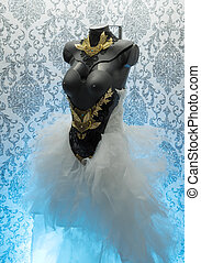 dress., leva, ouro, corset., feito à mão, metal, metais, pedaços, materiais, gótico, luxo, casório, pretas, precioso, pedaço, thermoplastic, renda