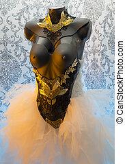 dress., leva, ouro, corset., feito à mão, metal, metais, pedaços, materiais, pretas, casório, gótico, excitado, pedaço, precioso, thermoplastic, renda