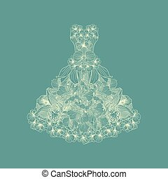 Dress made of linear flowers on teal background