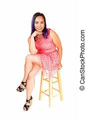 dress., mulher, cor-de-rosa, sentando