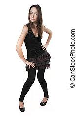 dress., mulher, pretas