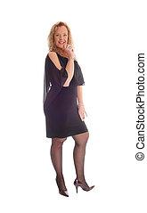 dress., mulher, pretas, loura