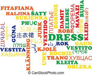 Dress multilanguage wordcloud background concept