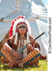 dress., noorden, volle, amerikaan indiaas, wederopbouw