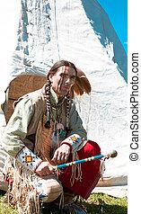 dress., norte, lleno, indio americano, reconstrucción