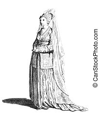 Dress of a noble lady of Syria in 1581 on engraving from the 1700s.
