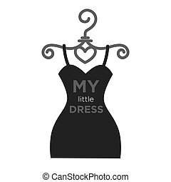 Dress on hanger - Vector illustration of little dress on...