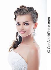 dress., piękno, twarz, panna młoda, wspaniały, wesele