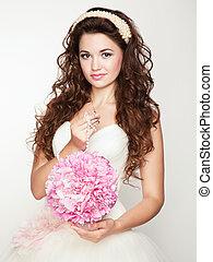 dress., portræt bryllup, bride., smukke